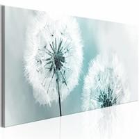 Schilderij - Blauwe Zomer - Paardenbloem 150X50 , wit blauw , 1 luik