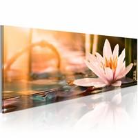 Schilderij - Prachtige Lotus 150X50cm , wit oranje , 1 luik