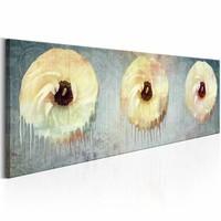 Schilderij - Bloemen Schim 150X50cm , geel grijs , 1 luik