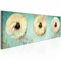 Schilderij - Slaperige Illusie 150X50cm , geel groen , bloemen
