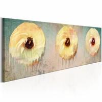 Schilderij - Abstracte Bloemen 150X50cm , geel , 1 luik