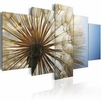 Canvas Schilderij - Bewondering van zachtheid , bloem , bruin blauw , 5 luik , 2 maten
