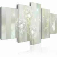 Canvas Schilderij - Paardenbloem , wit , 5 luik , 2 maten