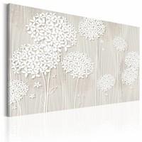 Schilderij - Bloemen in de wind , wit