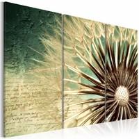 Schilderij - Tijdelijke schoonheid , bloem , bruin groen , 3 luik