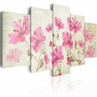 Canvas Schilderij - Foto met bloem , wit roze , 5 luik , 2 maten