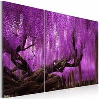 Schilderij - Blauwe regen , paars , boom , 3 luik