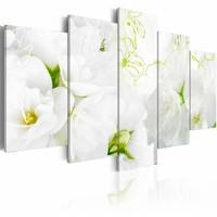 Schilderij - Natuurlijk wit, bloem , 5 luik