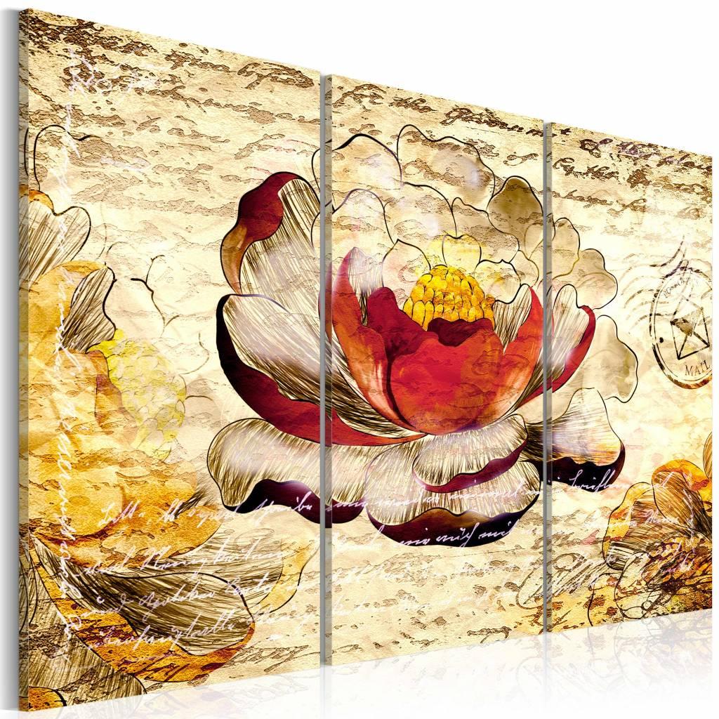 Schilderij - Retro bloem , geel rood , 3 luik