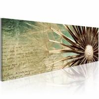 Canvas Schilderij - Paardenbloem en Poëzie 120x40 , 1 luik , bruin beige