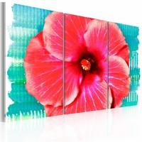 Canvas Schilderij - Hawaiian bloem - 3 luik , rood , 2 maten