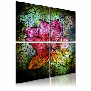 Canvas Schilderij - Glas bloem , rood groen , 4 luik , 2 maten