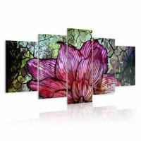 Schilderij - Glas in lood bloem , rood groen , 5 luik