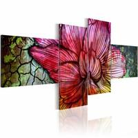 Schilderij - Een regenboog kleurige bloem , rood groen , 4 luik