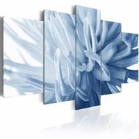 Schilderij - Blauwe bloem - dahlia , wit , 5 luik , 2 maten