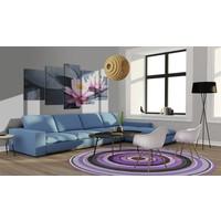Schilderij - Een droom over een waterlelie , roze grijs , 5 luik
