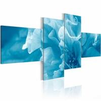 Schilderij - Hemelsblauwe azalea , blauw  , 4 luik , 2 maten