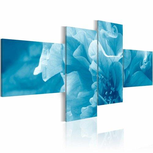 Schilderij - Hemelsblauwe azalea , 4 luik