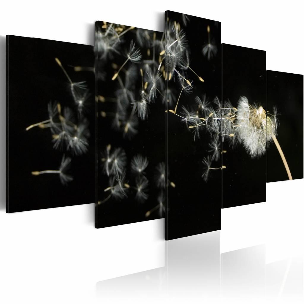 Schilderij - Vluchtigheid van de paardenbloem , zwart wit , 5 luik