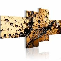 Schilderij - Paardenbloem in nevel , oranje , zwart , 4 luik