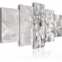 Schilderij - Dahlia in grijs , wit , 5 luik