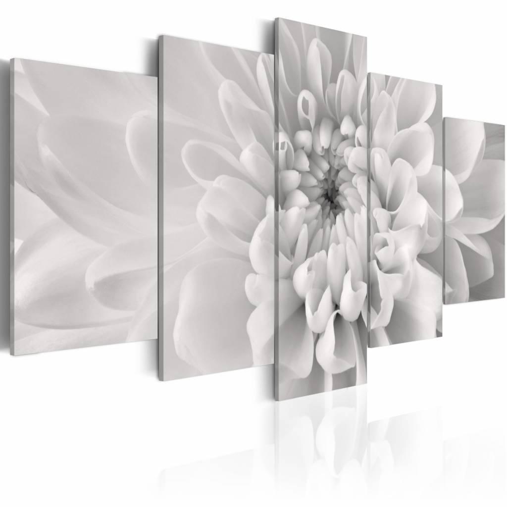 Schilderij - Dahlia in grijs , 5 luik