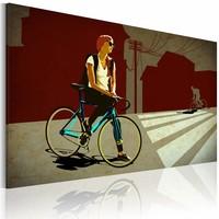 Schilderij - City Trip, Op de fiets, Rood, 2 Maten, 1luik