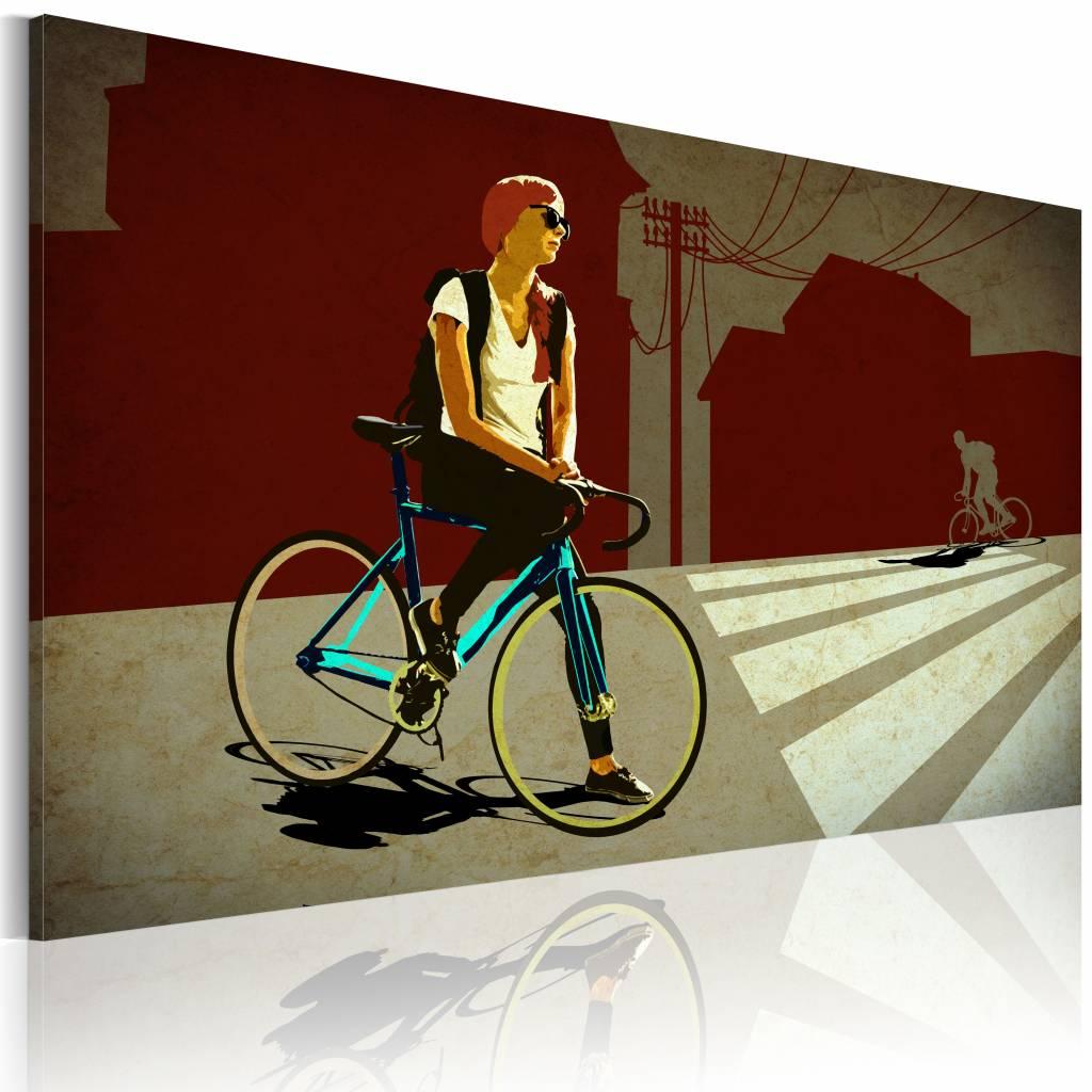 Schilderij - City Trip, Op de fiets, Rood/beige, 1luik, premium print
