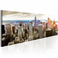 Schilderij - Manhattan: Eiland van de Rijken  , multi kleur