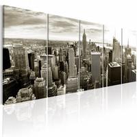 Schilderij - Grijze Manhattan - New York , 5 luik , 2 maten
