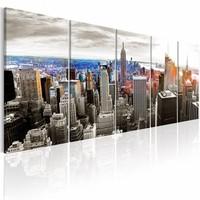Canvas Schilderij - New York: Grijze Wolkenkrabbers , 5 luik , 2 maten
