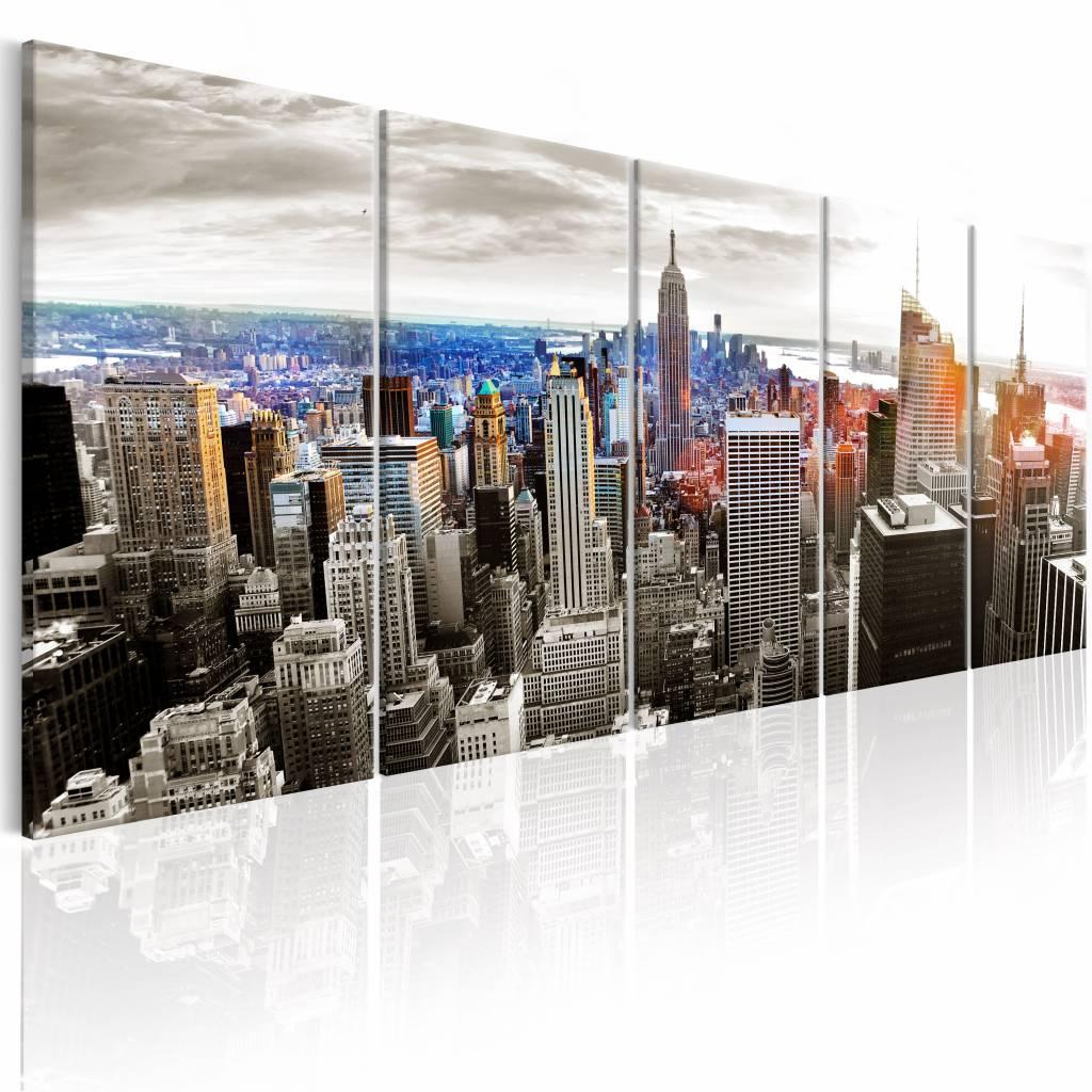 Schilderij - New York: Grijze Wolkenkrabbers , 5 luik , 2 maten
