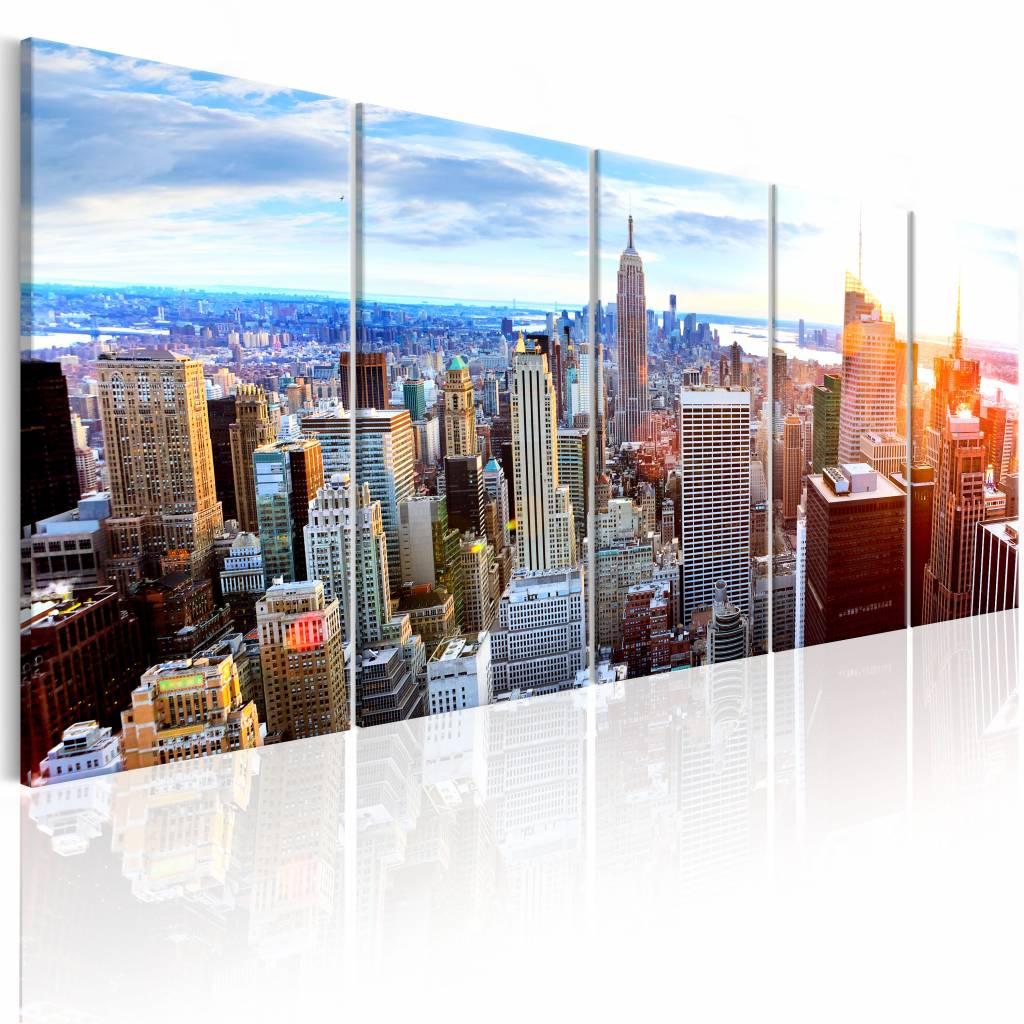 Schilderij - New York: Zonsopkomst , blauw multi kleur , 5 luik