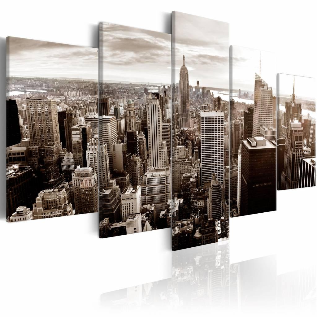 Schilderij - Stijlvolle Manhattan - New York , beige , 5 luik , 2 maten