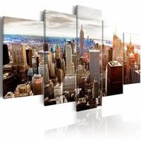 Schilderij - Grijze wolkenkrabbers - New York , multi kleur ,  5 luik