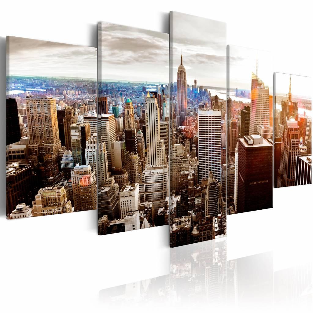 Schilderij - Grijze wolkenkrabbers - New York , multi kleur , 5 luik , 2 maten