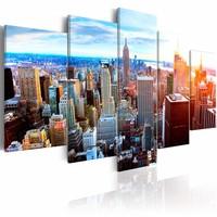 Schilderij - New York Zonsopkomst , multi kleur , 5 luik