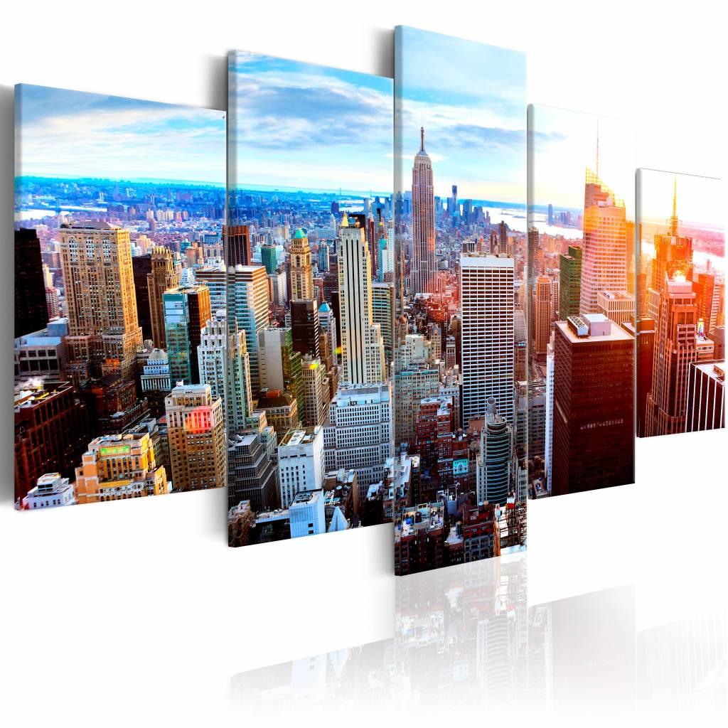 Schilderij - New York Zonsopkomst , multi kleur , 5 luik , 2 maten