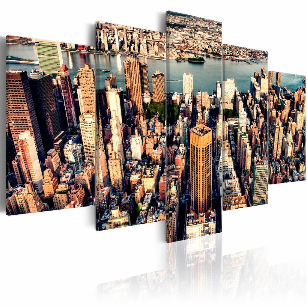 Schilderij - New York: Zomer middag , multi kleur , 5 luik , 2 maten