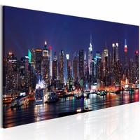 Schilderij - Leven in de Avond - New York , blauw