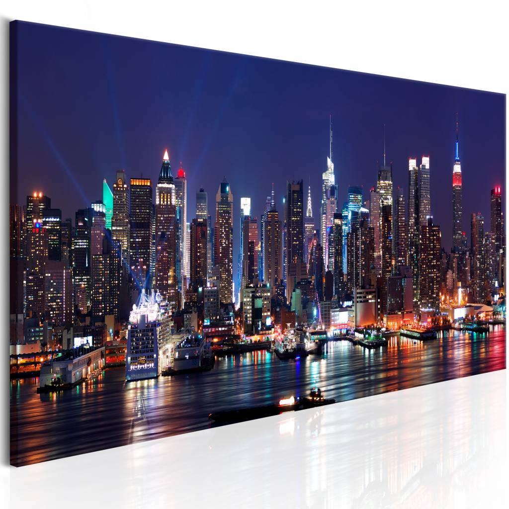 Schilderij - Leven in de Avond - New York , blauw , 1 luik , 3 maten