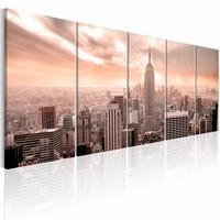 Canvas Schilderij - New York: Manhattan , roze , 5 luik , 2 maten