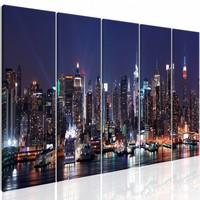 Schilderij - New York: Nachtleven , blauw , 5 luik