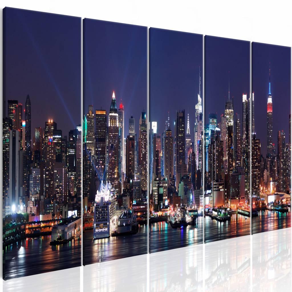 Schilderij - New York: Nachtleven , blauw , 5 luik , 2 maten