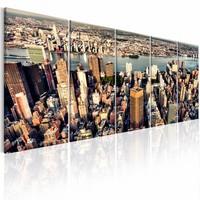 Schilderij - Vlucht over New York , multi kleur , 5 luik