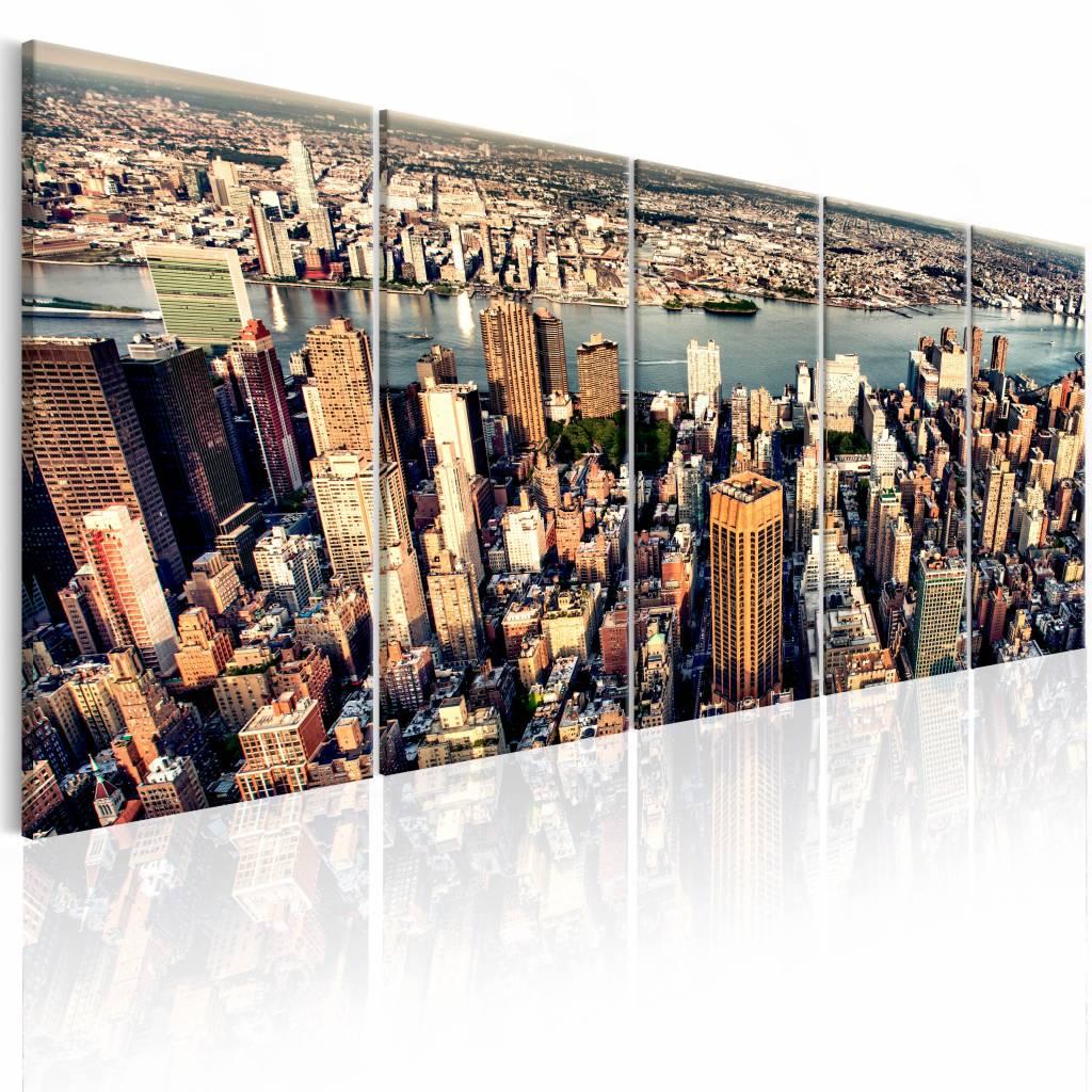 Schilderij - Vlucht over New York , multi kleur , 5 luik , 2 maten