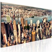 Schilderij - Panorama van New York , multi kleur