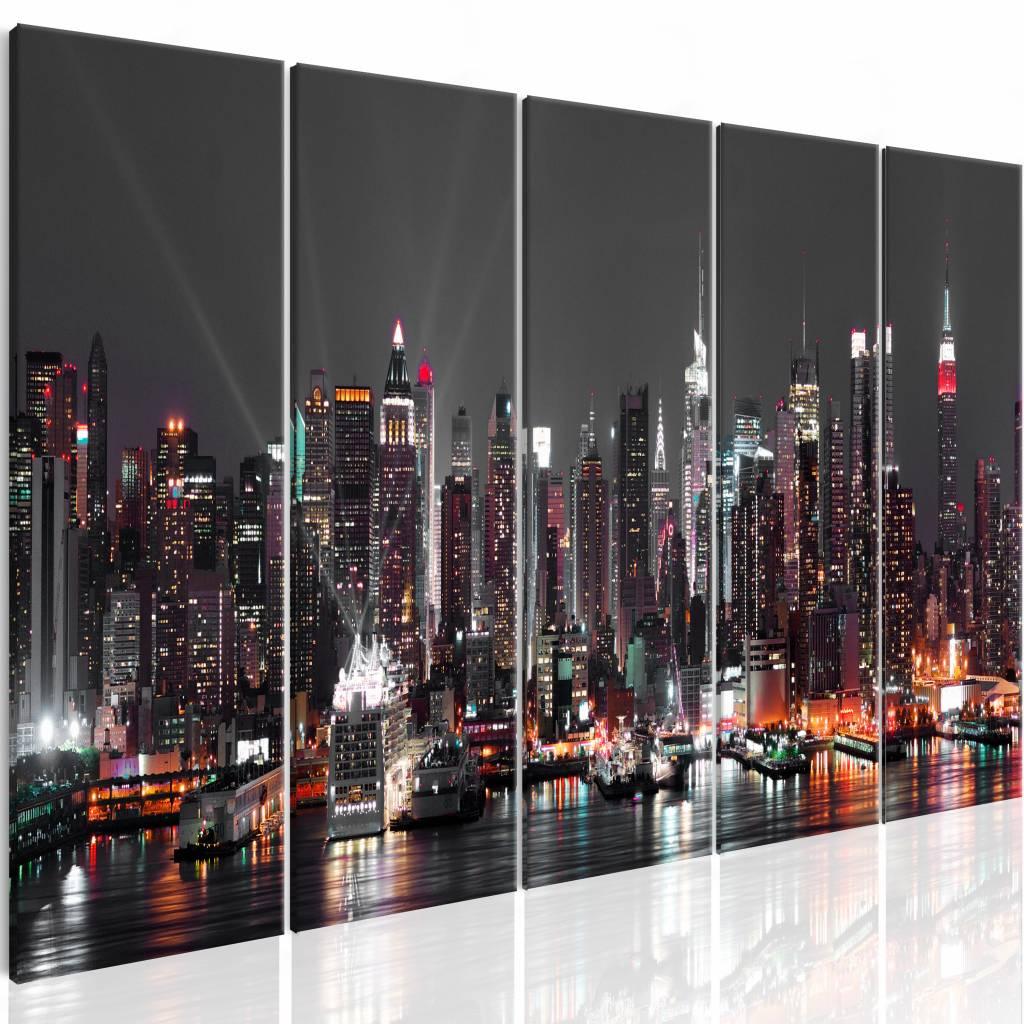 Schilderij - New York: Slapeloos , multi kleur , 5 luik , 2 maten