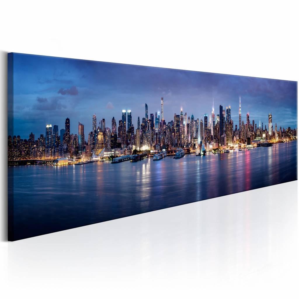 Schilderij - New York Nachten , blauw , 1 luik , 2 maten