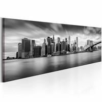 Schilderij - New York Zwart-Wit 150X50 , 1 luik